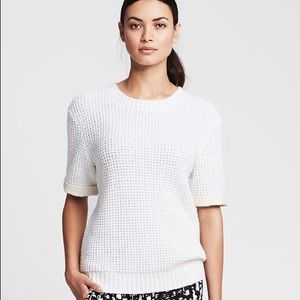 Banana Republic Faux Leather Sleeve Sweater NWT